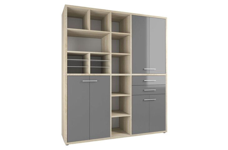 Highboard Set+ IV Eiche-Natur/Grauglas