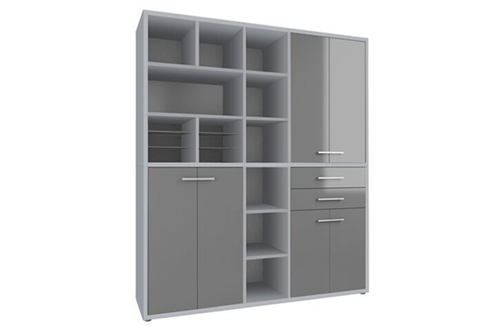 Highboard Set+ IV Platingrau/Grauglas