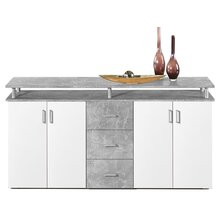 Highboard Lyndy I Beton / Türen Weiß